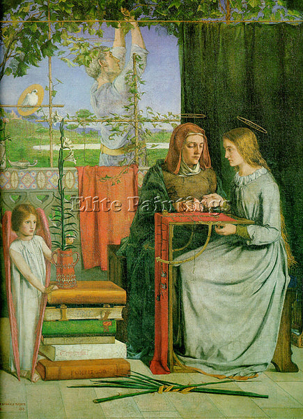 DANTE GABRIEL ROSSETTI THE CHILDHOOD OF THE VIRGIN ARTIST PAINTING REPRODUCTION