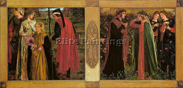 DANTE GABRIEL ROSSETTI THE SALUTATION OF BEATRICE ARTIST PAINTING REPRODUCTION