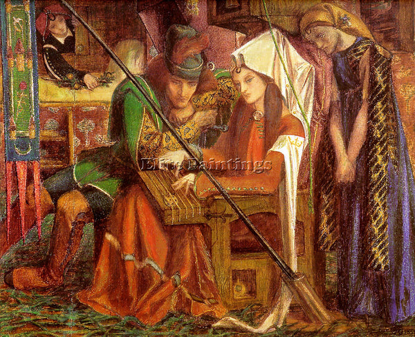 DANTE GABRIEL ROSSETTI TUNE OF SEVEN TOWERS ARTIST PAINTING HANDMADE OIL CANVAS