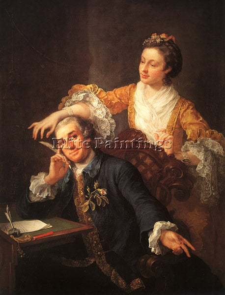 WILLIAM HOGARTH DAVID GARRICK AND HIS WIFE ARTIST PAINTING REPRODUCTION HANDMADE