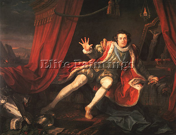 WILLIAM HOGARTH DAVID GARRICK AS RICHARD 3 ARTIST PAINTING REPRODUCTION HANDMADE