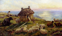 AMERICAN DAVIS HENRY WILLIAMS BANKS ON THE CLIFFS PICARDY ARTIST PAINTING CANVAS