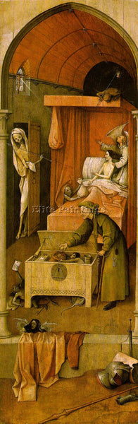 HIERONYMUS BOSCH DEATH AND THE MISER ARTIST PAINTING REPRODUCTION HANDMADE OIL