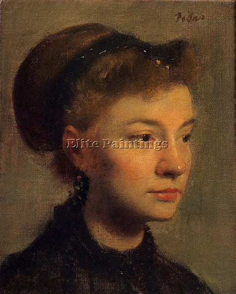 EDGAR DEGAS HEAD OF A YOUNG WOMAN ARTIST PAINTING REPRODUCTION HANDMADE OIL DECO