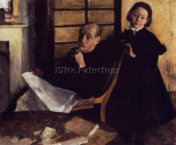 EDGAR DEGAS HENRI DE GAS AND HIS NEICE LUCIE DEGAS ARTIST PAINTING REPRODUCTION