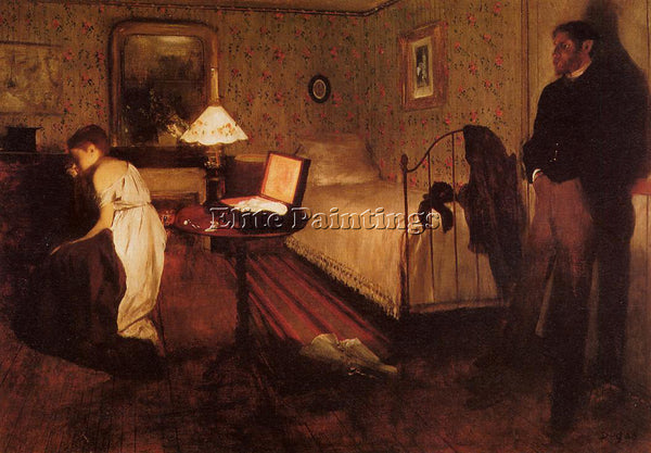 EDGAR DEGAS INTERIOR AKA THE RAPE ARTIST PAINTING REPRODUCTION HANDMADE OIL DECO