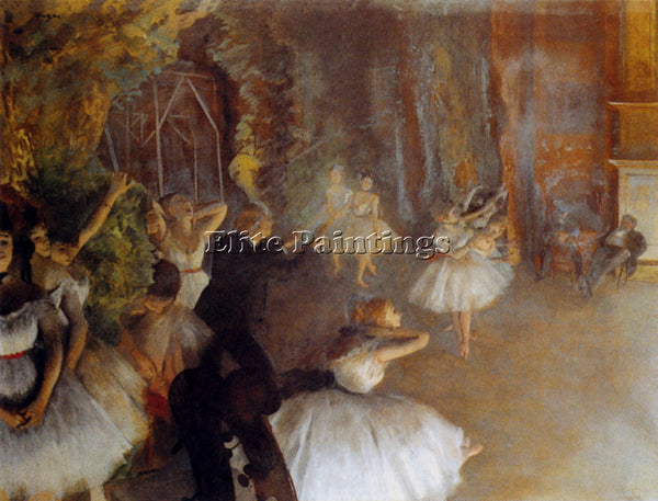 EDGAR DEGAS THE REHEARSAL OF THE BALLET ARTIST PAINTING REPRODUCTION HANDMADE