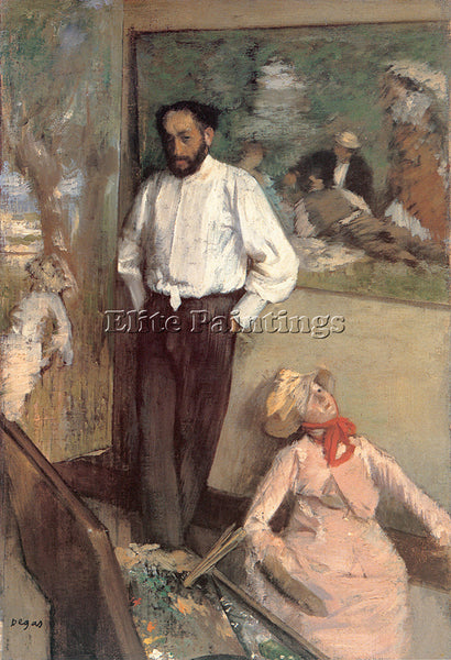 EDGAR DEGAS PORTRAIT OF THE PAINTER HENRI MICHEL LEVY ARTIST PAINTING HANDMADE