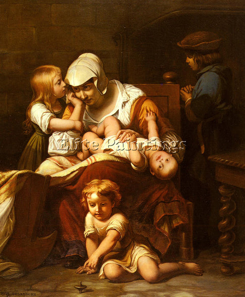 PAUL DELAROCHE JUENE MERE ET SES ENFANTS ARTIST PAINTING REPRODUCTION HANDMADE