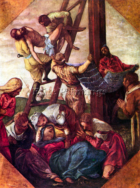 TINTORETTO DESCENT FROM THE CROSS ARTIST PAINTING REPRODUCTION HANDMADE OIL DECO