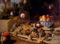 DESPORTES STILL LIFE GRAPES PEACHES IN BLUE AND WHITE PORCELAIN BOWL AND MELON