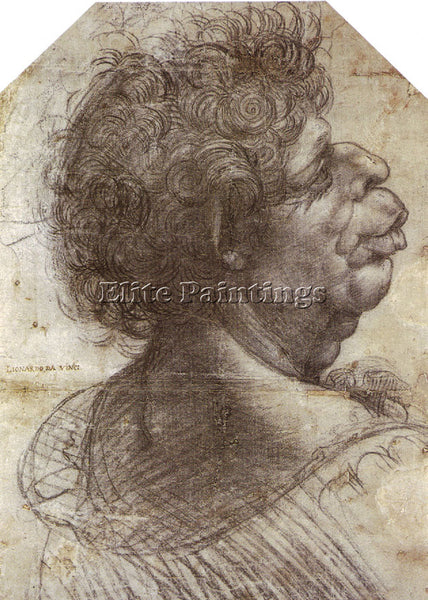LEONARDO DA VINCI DESSIN GROTESQUE ARTIST PAINTING REPRODUCTION HANDMADE OIL ART