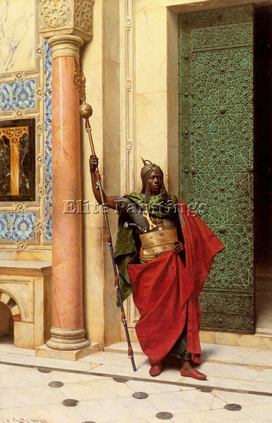 LUDWIG DEUTSCH A NUBIAN GUARD ARTIST PAINTING REPRODUCTION HANDMADE CANVAS REPRO