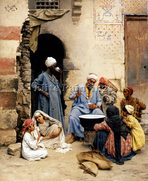 LUDWIG DEUTSCH THE SAHLEB VENDOR CAIRO ARTIST PAINTING REPRODUCTION HANDMADE OIL