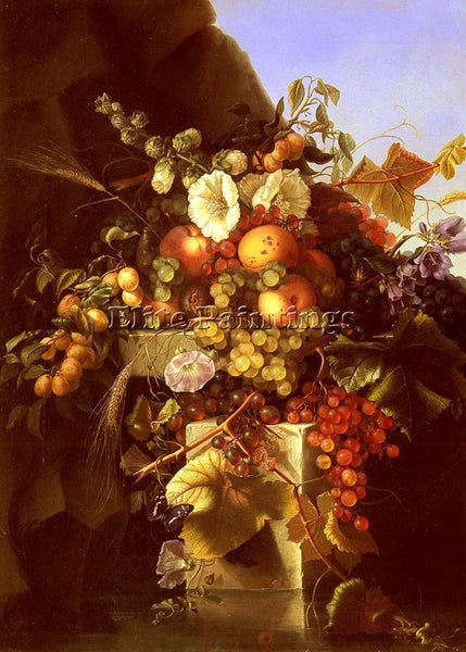 DIETRICH ADELHEID STILL LIFE WITH GRAPES PEACHES FLOWERS AND BUTTERFLY PAINTING - Oil Paintings Gallery Repro