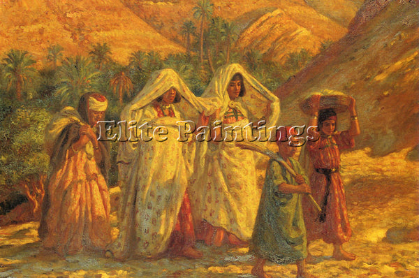 ETIENNE DINET ARAB WOMEN AND CHILDREN ARTIST PAINTING REPRODUCTION HANDMADE OIL