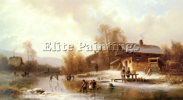 ANTON DOLL SKATERS AND WASHERWOMEN IN A FROZEN LANDSCAPE ARTIST PAINTING CANVAS