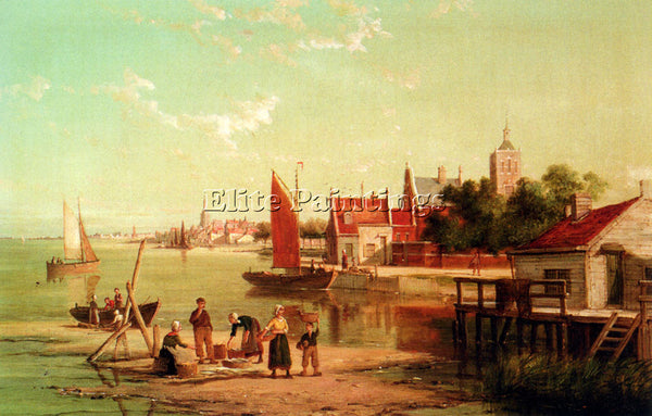 DOMMELSHUIZEN ON THE RIVER AMSTEL AMSTERDAM HOLLAND ARTIST PAINTING REPRODUCTION