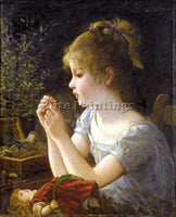 FRENCH DOYEN GUSTAVE GIRL AND DOLL ARTIST PAINTING REPRODUCTION HANDMADE OIL ART
