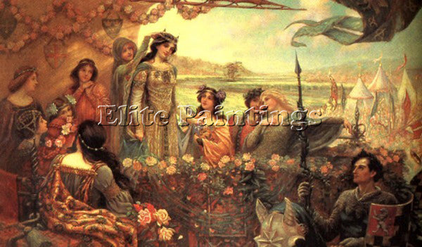 HERBERT JAMES DRAPER LANCELOT AND GUINEVERE ARTIST PAINTING HANDMADE OIL CANVAS