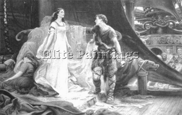 HERBERT JAMES DRAPER TRISTAN AND ISOLDE STEEL ENGRAVING ARTIST PAINTING HANDMADE