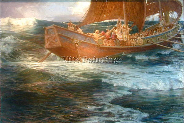 HERBERT JAMES DRAPER WRATH OF THE SEA GOD DT3 ARTIST PAINTING REPRODUCTION OIL