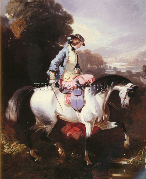 ALFRED DEDREUX DREUX DE AN ELEGANT EQUESTRIENNE ARTIST PAINTING REPRODUCTION OIL