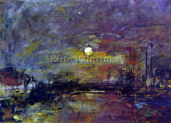 BOUDIN DUSK ON THE PORT OF LE HAVRE BY BOUDIN ARTIST PAINTING REPRODUCTION OIL