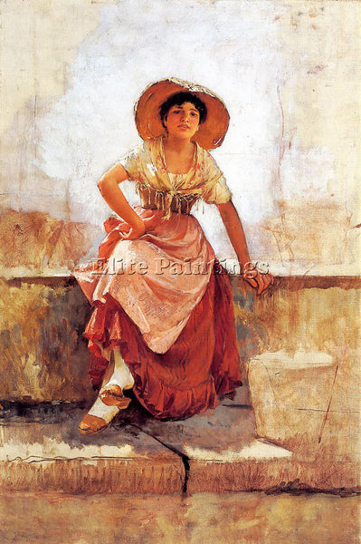 FRANK DUVENECK FLORENTINE FLOWER GIRL2 ARTIST PAINTING REPRODUCTION HANDMADE OIL