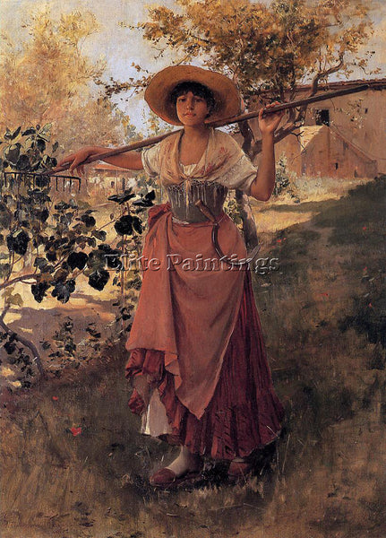 FRANK DUVENECK GIRL WITH RAKE ARTIST PAINTING REPRODUCTION HANDMADE CANVAS REPRO