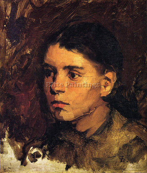 FRANK DUVENECK HEAD OF A YOUNG GIRL ARTIST PAINTING REPRODUCTION HANDMADE OIL