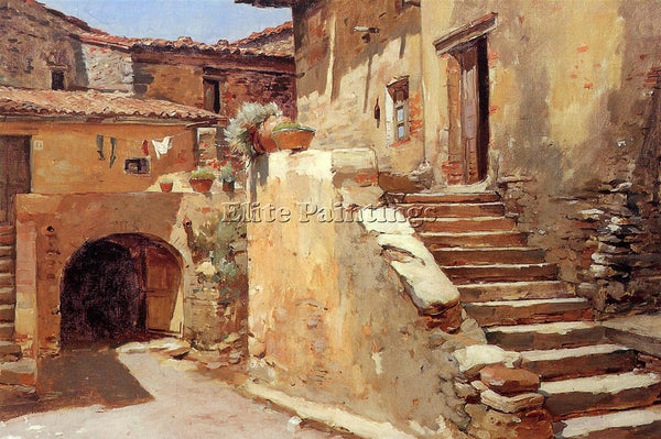 FRANK DUVENECK ITALIAN COURTYARD ARTIST PAINTING REPRODUCTION HANDMADE OIL REPRO