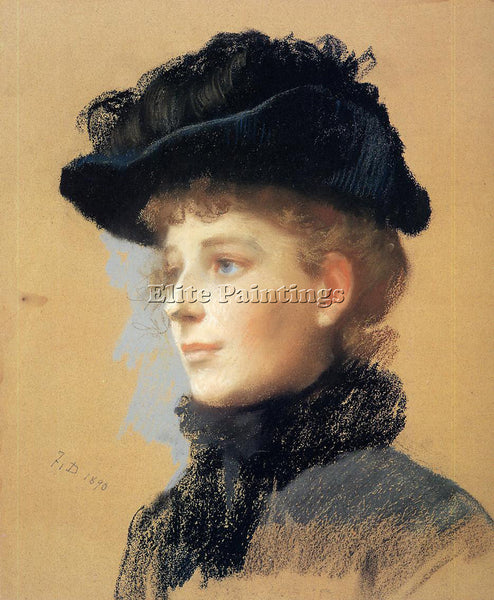 FRANK DUVENECK PORTRAIT OF A WOMAN WITH BLACK HAT ARTIST PAINTING REPRODUCTION