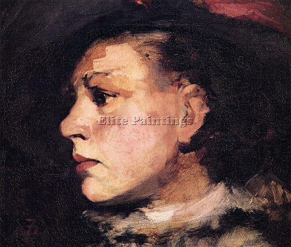 FRANK DUVENECK PROFILE OF GIRL WITH HAT ARTIST PAINTING REPRODUCTION HANDMADE
