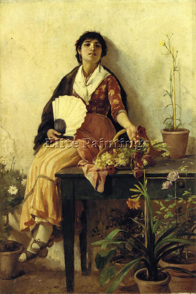 FRANK DUVENECK THE FLORENTINE GIRL ARTIST PAINTING REPRODUCTION HANDMADE OIL ART