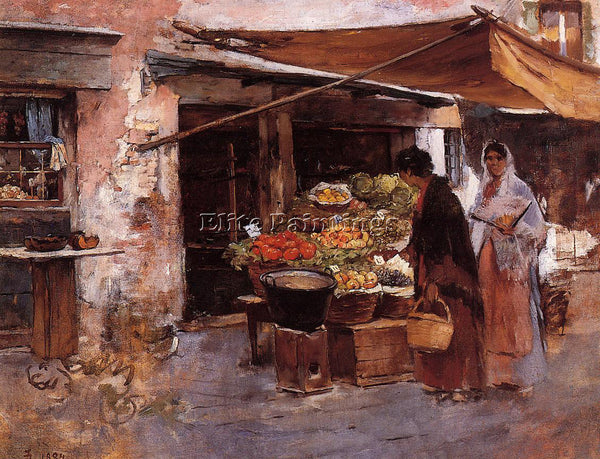FRANK DUVENECK VENETIAN FRUIT MARKET ARTIST PAINTING REPRODUCTION HANDMADE OIL