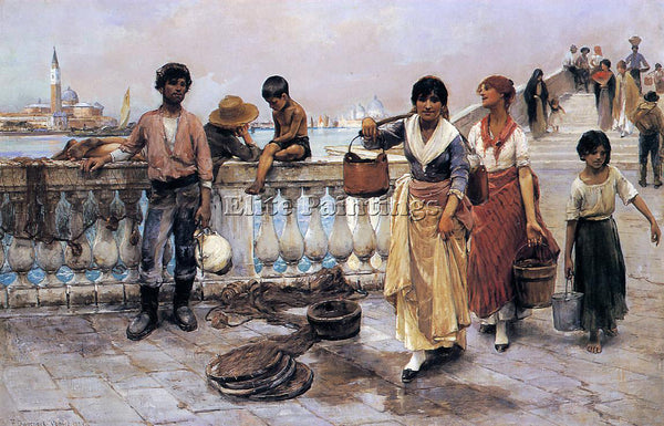 FRANK DUVENECK WATER CARRIERS VENICE ARTIST PAINTING REPRODUCTION HANDMADE OIL