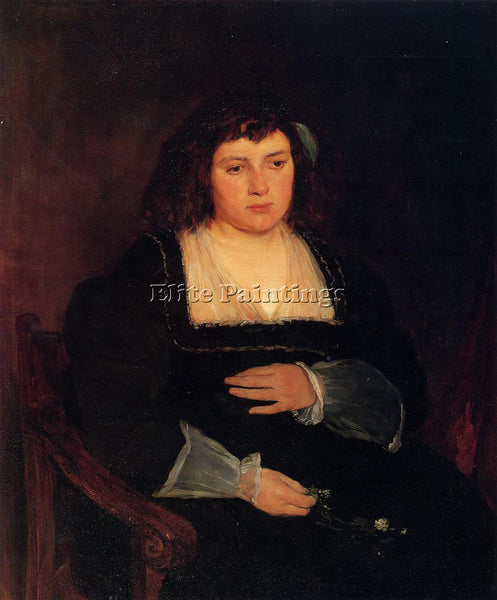 FRANK DUVENECK WOMAN WITH FORGET ME NOTS ARTIST PAINTING REPRODUCTION HANDMADE