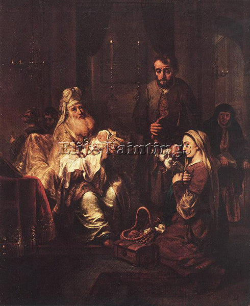 GERBRAND VAN DEN EECKHOUT PRESENTATION IN THE TEMPLE ARTIST PAINTING HANDMADE
