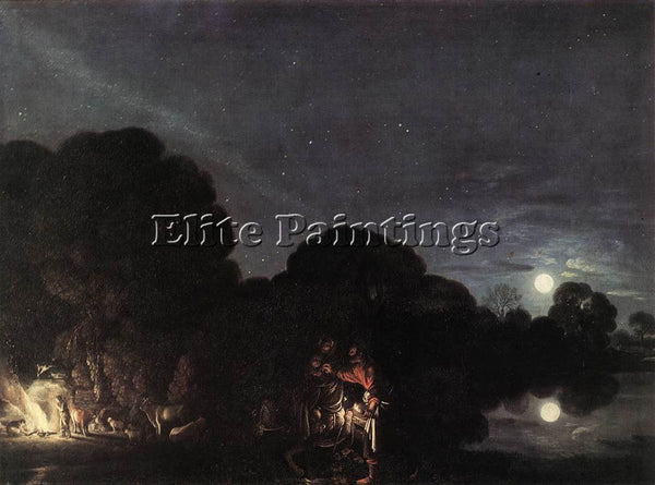 ADAM ELSHEIMER FLIGHT INTO EGYPT ARTIST PAINTING REPRODUCTION HANDMADE OIL REPRO