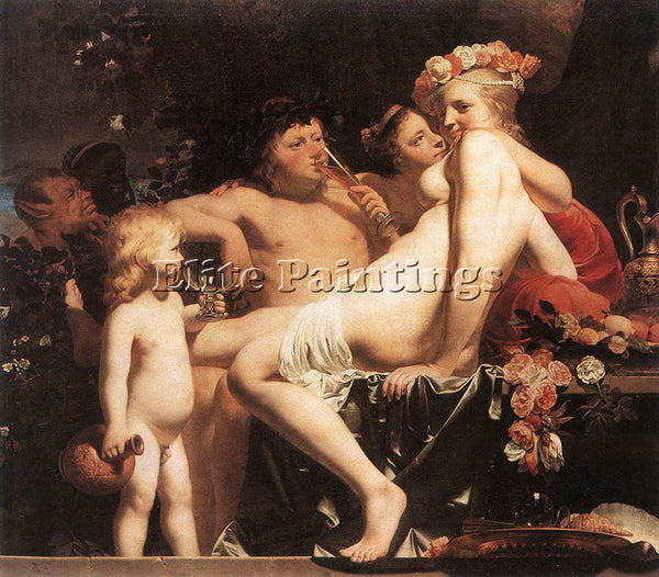 CAESAR VAN EVERDINGEN BACCHUS WITH TWO NYMPHS AND CUPID ARTIST PAINTING HANDMADE