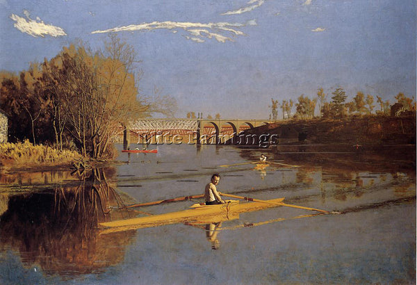 THOMAS EAKINS MAX SCHMITT IN A SINGLE SCULL ARTIST PAINTING HANDMADE OIL CANVAS