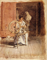 THOMAS EAKINS SPINNING ARTIST PAINTING REPRODUCTION HANDMADE CANVAS REPRO WALL