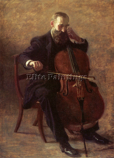 THOMAS EAKINS THE CELLO PLAYER ARTIST PAINTING REPRODUCTION HANDMADE OIL CANVAS