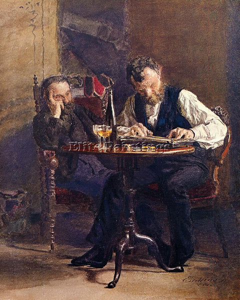 THOMAS EAKINS THE ZITHER PLAYER ARTIST PAINTING REPRODUCTION HANDMADE OIL CANVAS