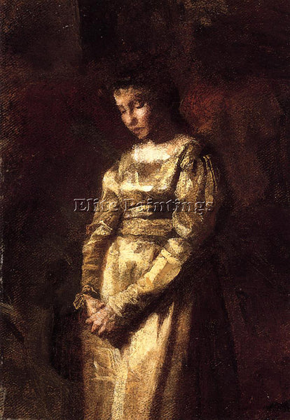 THOMAS EAKINS YOUNG GIRL MEDITATING STUDY ARTIST PAINTING REPRODUCTION HANDMADE