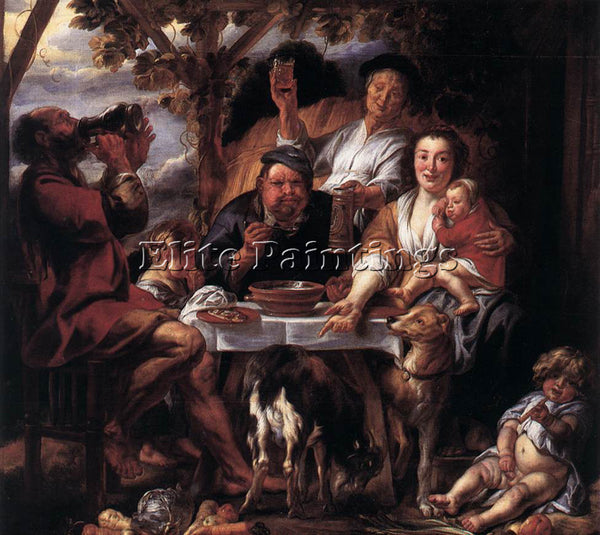 JACOB JORDAENS EATING MAN ARTIST PAINTING REPRODUCTION HANDMADE OIL CANVAS REPRO