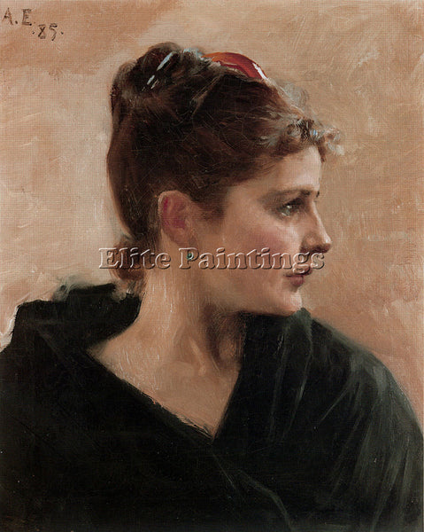 ALBERT EDELFELT PORTRAIT OF A YOUNG LADY ARTIST PAINTING REPRODUCTION HANDMADE