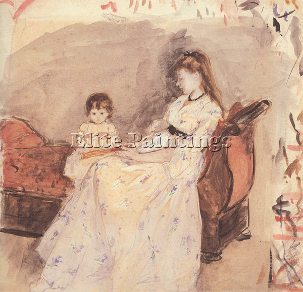 MORISOT EDMA THE SISTER OF THE ARTIST WITH HER DAUGHTER ARTIST PAINTING HANDMADE