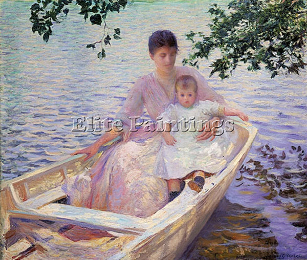 EDMUND CHARLES TARBELL MOTHER AND CHILD IN A BOAT MFA ARTIST PAINTING HANDMADE